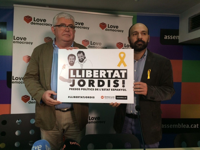 Agustí Alcoberro (ANC) y Marcel Mauri (Omnium), en un acto en defensa de los Jordis.
