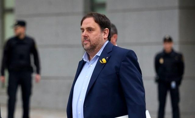 Oriol Junqueras, dirigiéndose a la Audiencia Nacional horas antes de que la juez Lamela decretara su ingreso en prisión.