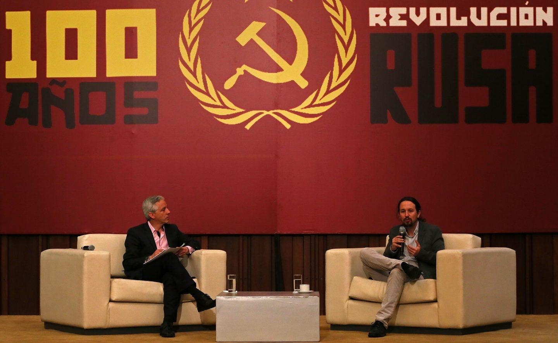 Pablo Iglesias, junto al vicepresidente de Bolivia, Álvaro García Linera.