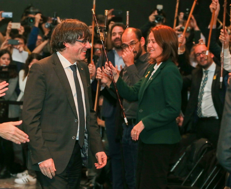 Carles Puigdemont, en el acto celebrado con alcaldes en Bruselas.