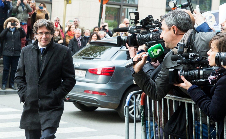 Carles Puigdemont, llegando esta semana al Centro de Prensa de Bruselas (Bélgica).