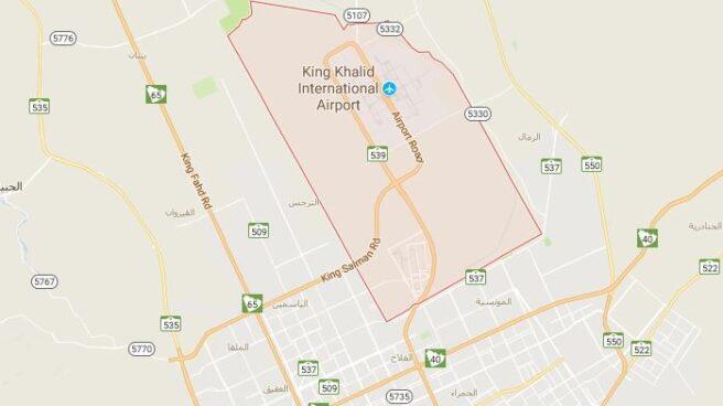 Localización del aeropuerto King Khalid, en Riad, capital de Arabia Saudí.
