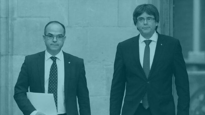 Turull y Puigdemont, en la sede de la Generalitat.