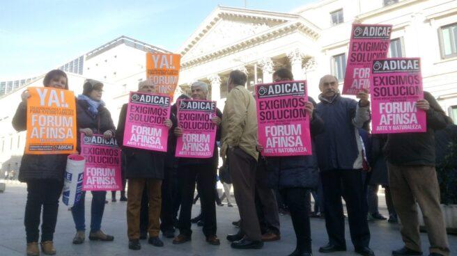 Protesta de los afectados por la estafa de Afinsa.