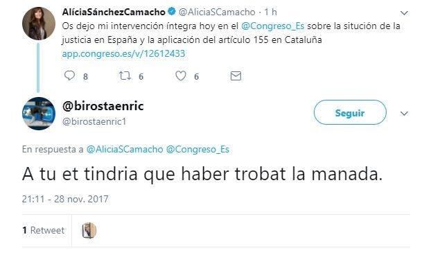 """Captura de la amenaza a Alicia Sánchez-Camacho: """"Te tendría que haber encontrado La Manada"""""""