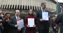 Miquel Iceta (PSC), Inés Arrimadas (Cs) y Xavier García Albiol (PP) escenifican su unidad ante el Tribunal Constitucional en 2015.