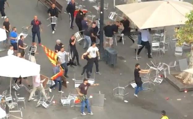 Batalla campal en Barcelona el pasado 12 de octubre.