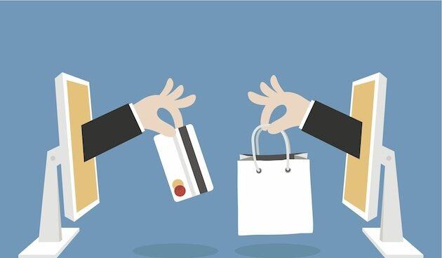 Infografía que ilustra la venta a distancia a través de plataformas digitales.