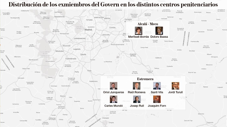 Mapa de la distribución de los exmiembros del Govern en los distintos centros penitenciarios
