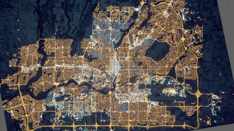 Contaminación lumínica en Alberta en 2015