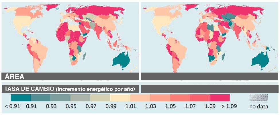 Tasa anual de incremento de luz artficial