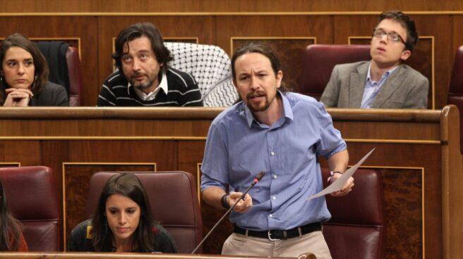 El líder de Podemos, Pablo Iglesias, en la sesión de control en el Congreso de los Diputados.