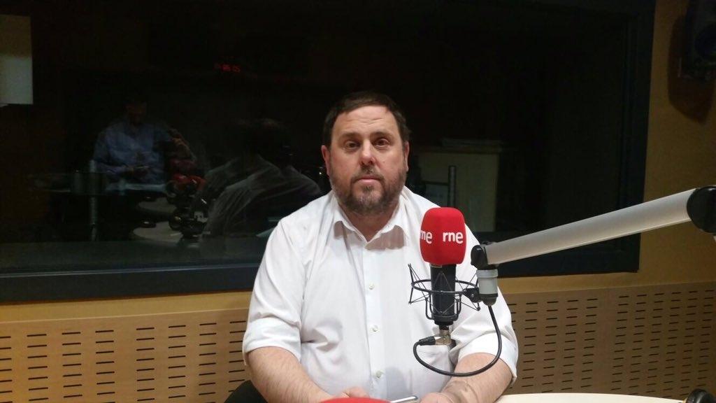 Oriol Junqueras, durante una intervención en Radio Nacional de España en el año 2016.