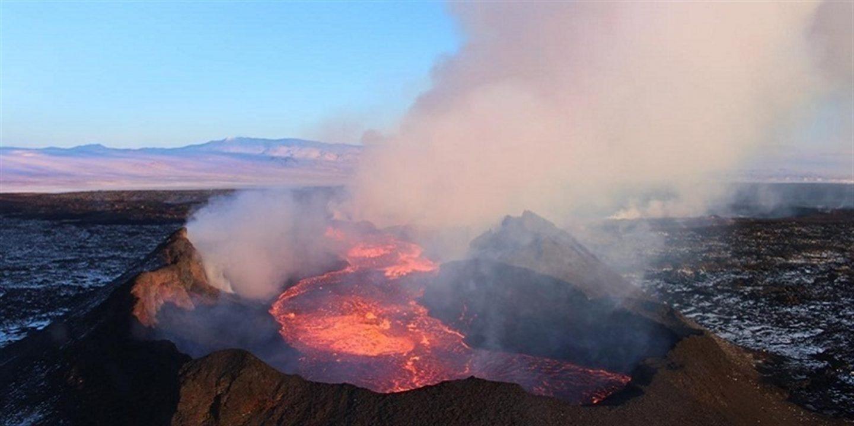 Volcán en erupción.