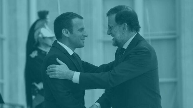 El presidente francés, Emmanuel Macron, y Mariano Rajoy.