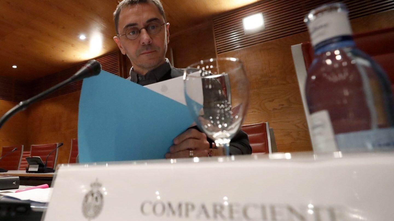 El cofundador de Podemos, Juan Carlos Monedero, durante su comparecencia en el Senado.