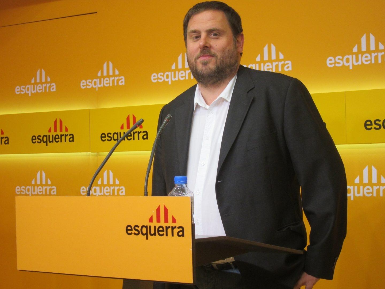 Oriol Junqueras, durante una rueda de prensa en la sede de ERC.
