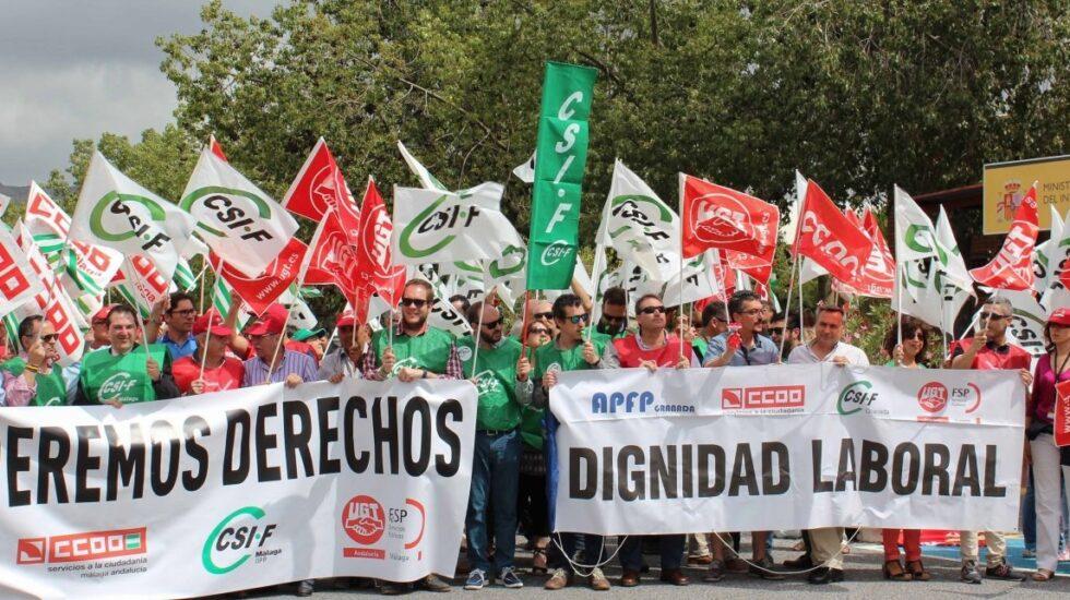 Funcionarios de prisiones, en una de las protestas secundadas.