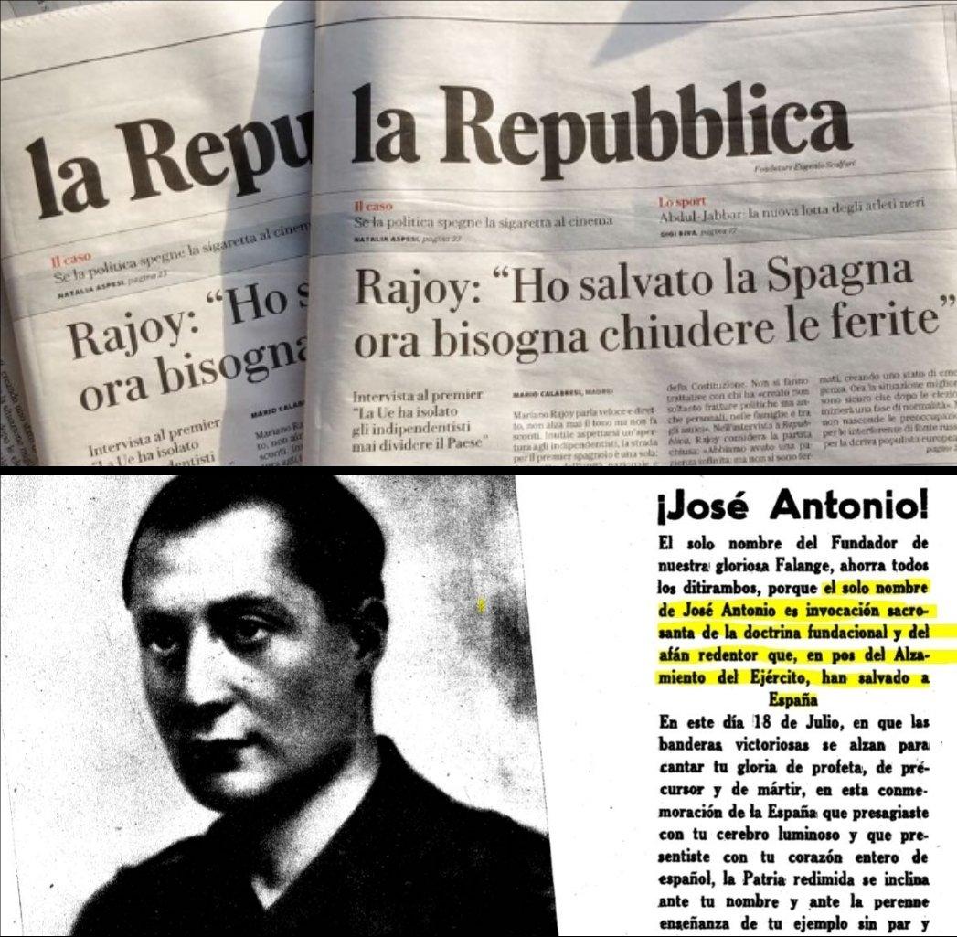 La imagen utilizada por Carles Puigdemont para comparar a Mariano Rajoy con José Antonio Primo de Rivera.