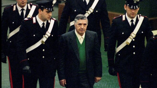Toto Riina durante un proceso