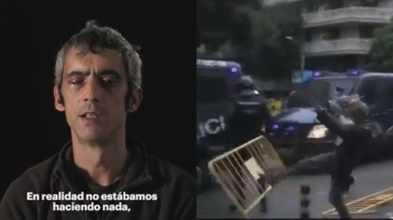 Roger Español dando su versión de los hechos y una imagen en la que se aprecia cómo lanza una valla contra un agente de la Policía Nacional.