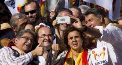 Enric Millo, Miquel Iceta, Dolors Montserrat y Xavier García Albiol se fotografían durante la marcha por la unión de España.