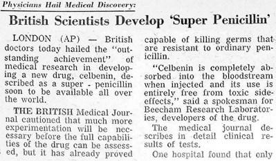 En 1960 el Celbenin (meticilina) era anunciado como un gran avance