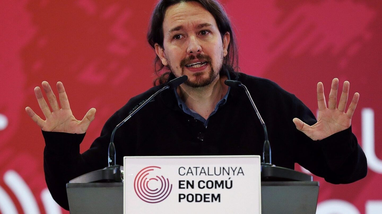 Pablo Iglesias, este domingo en un mitin en Cataluña, un día antes de presentar un recurso al TC por el 155.