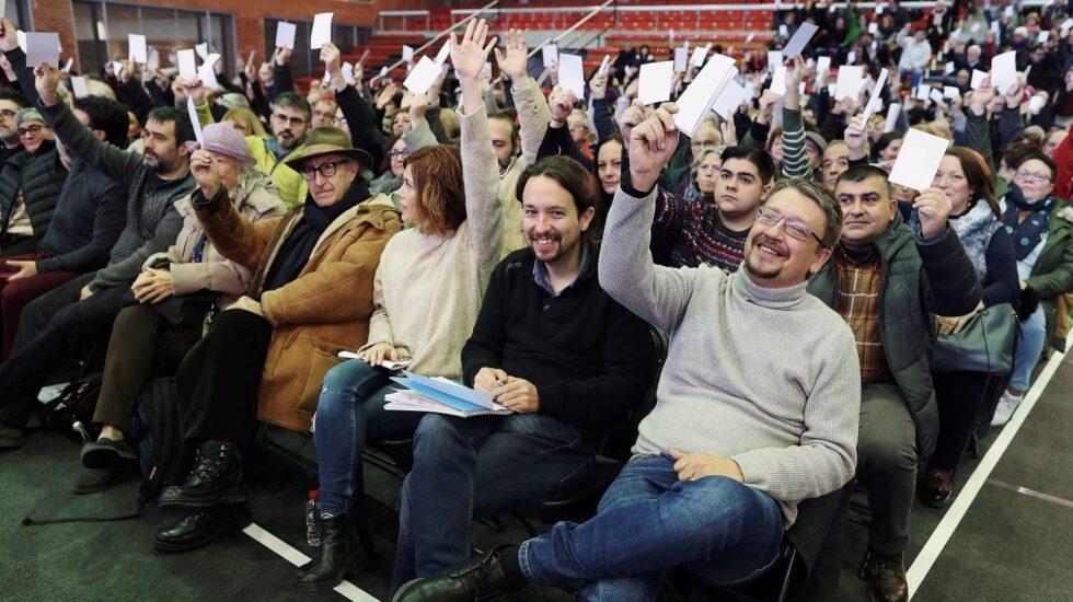 Pablo Iglesias y Xavi Domènech durante la campaña del 21D.
