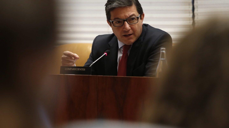 El ex presidente del Canal de Isabel II, Pedro Calvo, en la Asamblea de Madrid.
