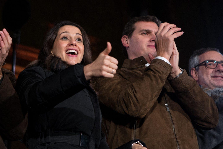 Arrimadas y Rivera, en el cierre de campaña de Ciudadanos en Cataluña.