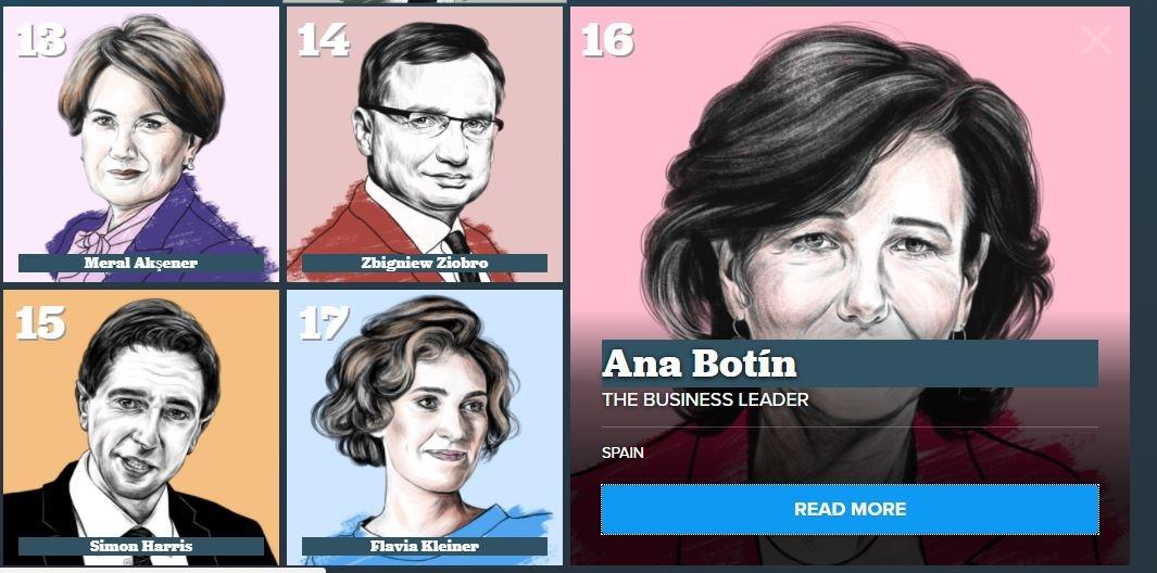 Captura del ranking elaborado por Politico para 2018, con Ana Botín en el puesto 16.