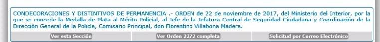 Referencia a la condecoración otorgada a Villabona que se publica este lunes en la orden general de la Policía.