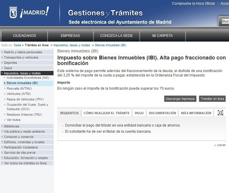 Información sobre el IBI en el Ayuntamiento de Madrid.