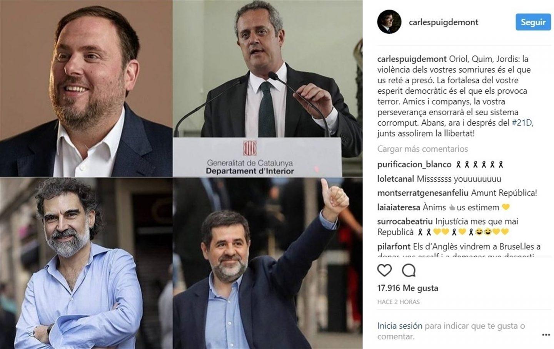 """Puigdemont a los encarcelados: """"Vuestra perseverancia derrumbará su sistema corrompido"""""""