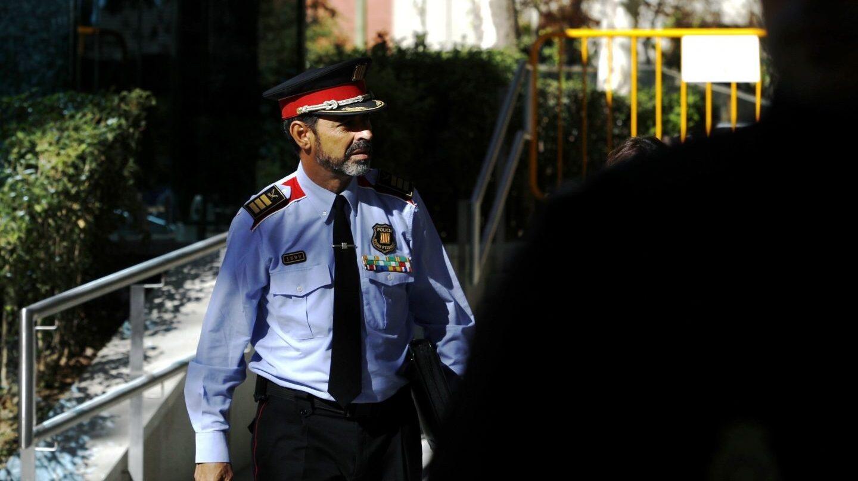 El comisario Josep Lluís Trapero, ex mayor de los Mossos d'Esquadra, dirigiéndose a la Audiencia Nacional.