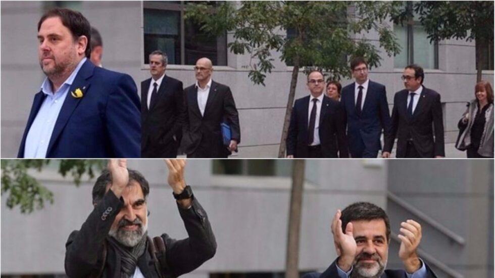 Junqueras, los consellers y los Jordis.