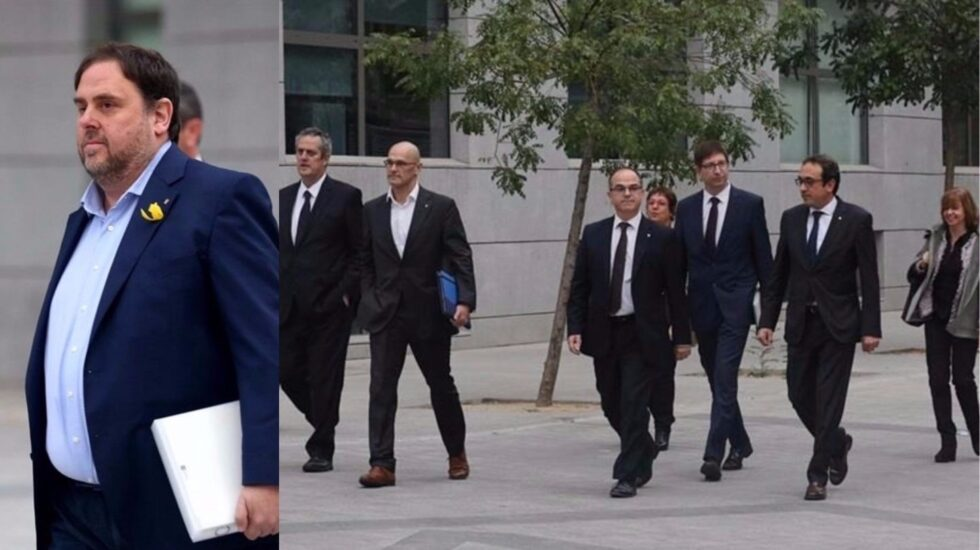 Junqueras y los ex consellers encarcelados, en la Audiencia.