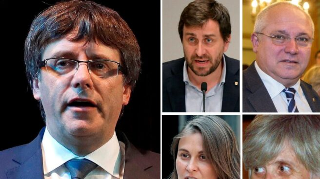 Carles Puigdemont , Antoni Comin, Lluís Puig, Meritxell Serret y Clara Ponsatí, de izqda. a dcha. y de arriba abajo.
