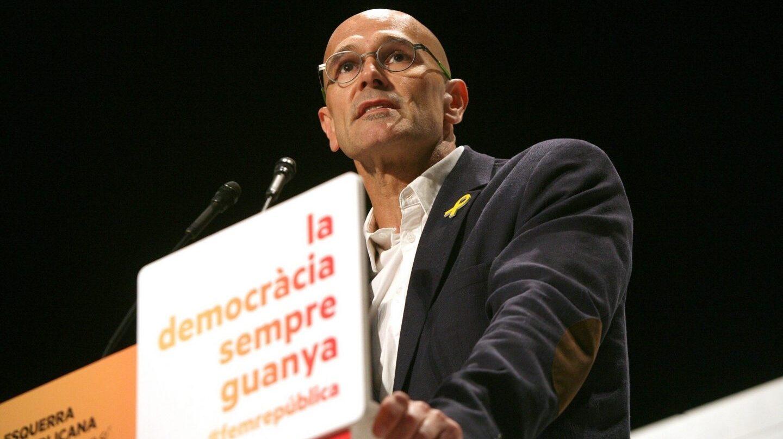 El exconseller recién excarcelado Raül Romeva, durante un mitin de ERC en Valls.