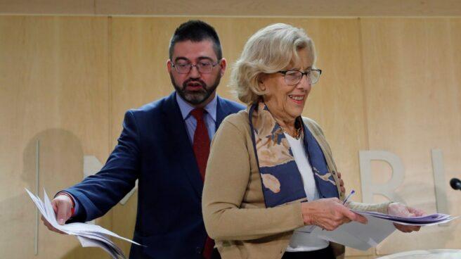 Sánchez Mato y Carmena. en una comparecencia en el Ayuntamiento de Madrid.