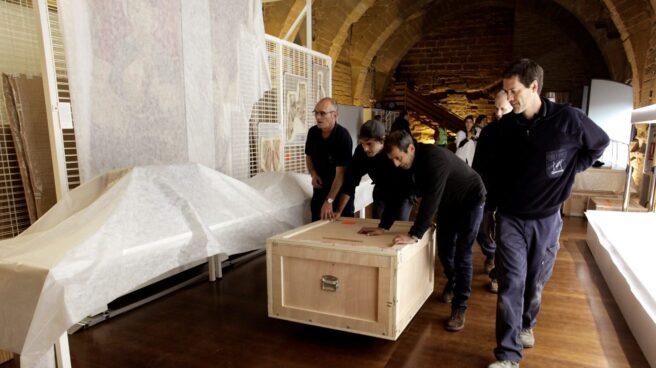 Llegada de las obras al Monasterio de Sijena.