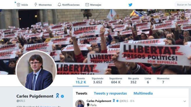 Perfil de Twitter de Carles Puigdemont.