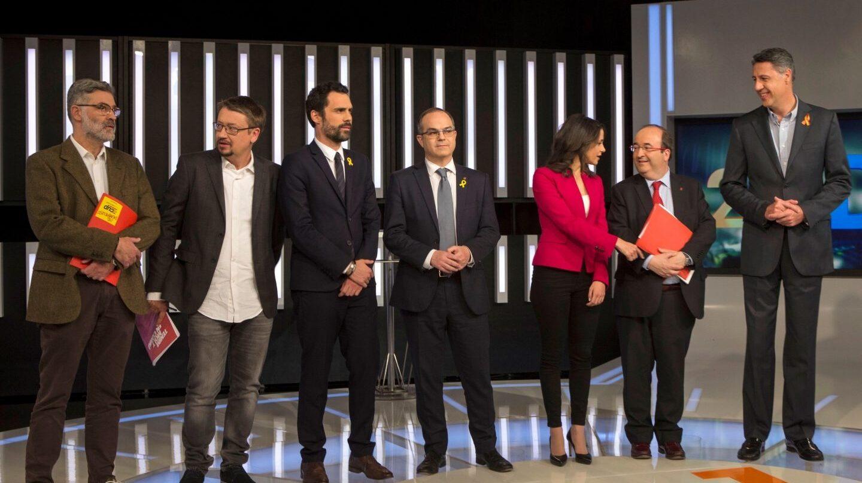 Los participantes en el primer debate catalán.