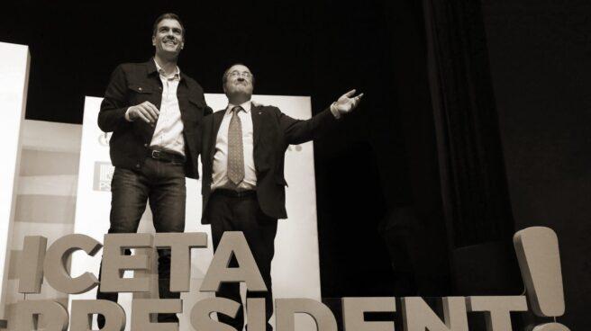 Pedro Sánchez y Miquel Iceta, en un acto de campaña.