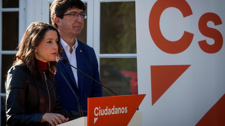 La líder de Ciudadanos en Cataluña, Inés Arrimadas junto al presidente y portavoz del grupo parlamentario de Ciudadanos en Andalucía, Juan Marín.
