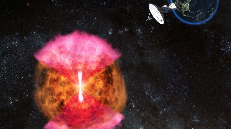 Un chorro oculto (en blanco) explicaría las ondas en forma de capullo (en rosa) de la kilonova detectada