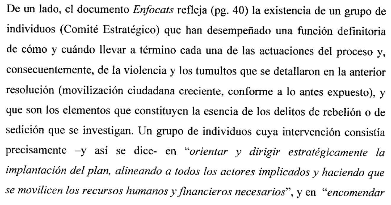 Detalle del auto de Llarena en el que alude al documento 'Enfocats'.