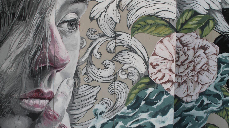 Detalle de la obra de Lula Goce acabada en la Facultad de Bellas Artes de la Universidad de Murcia