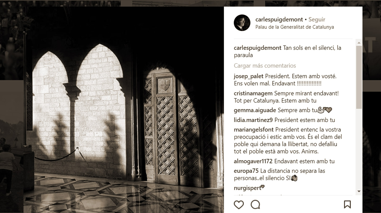Imagen del Palau subida a Instagram por el ex president Carles Puigdemont.